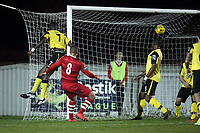 Lewwis Spence of Hornchurch scores the second goal for his team and celebrates during AFC Hornchurch vs Great Wakering Rovers, BBC Essex Senior Cup Football at Hornchurch Stadium on 4th December 2018