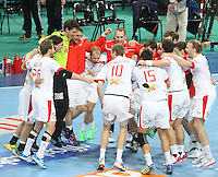 25.01.2013 Barcelona, Spain. IHF men's world championship, Semi-final. Picture show Denmark team after win game between Spain vs Slovenia at Palau St. Jordi