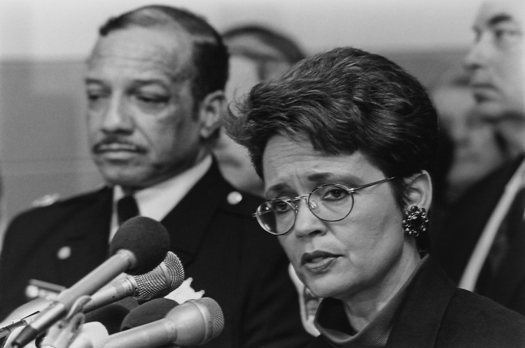 Mayor Sharon Pratt Kelly, D-D.C., with Fred Thomas in March 1994. (Photo by Chris Martin/CQ Roll Call via Getty Images)