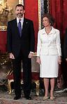 Spain's Queen Sofia and crown Prince Felipe during audiences. February 13, 2013. (ALTERPHOTOS/Alvaro Hernandez)