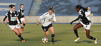 20170129 - LILLE , FRANCE : LOSC's Jana Coryn (M) with Juvisy's Aissatou Tounkara (R) and Charlotte Bilbault (L) pictured during women soccer game between the women teams of Lille OSC and FFC Juvisy Essonne  during the 1/16 final for the 2017 French Cup at stade Lille Metropole , Sunday 29th of January ,  PHOTO Dirk Vuylsteke | Sportpix.Be