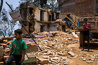 A general view collapsed houses in Chautara, Sindhupalchowk, Nepal on 29 June 2015. Sindhupalchowk was one of the most devastated by the April 25th earthquake and aftershocks that killed over 8000 people and injured over 19000 people, destroying over half a million houses. Photo by Suzanne Lee for SOS Children's Villages