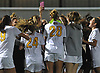 St. Anthony's teammates celebrate after their 2-0 win over Sacred Heart Academy in the Nassau-Suffolk CHSAA varsity girls soccer final at Adelphi University on Wednesday, Nov. 1, 2017.