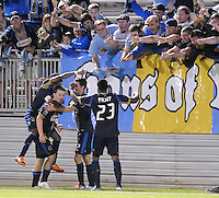 Philadelphia Union forward Antoine Hoppenot (29) celebrates with teammates his score. The Philadelphia Union defeated D.C. United 2-1in extra time at the round of sixteen of the Lamar Hunt U.S. Open Cup at The Maryland SoccerPlex, Tuesday June 6, 2012.