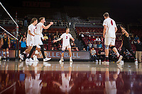 STANFORD, CA - January 17, 2019: Jordan Ewert, Stephen Moye, Paul Bischoff, Eric Beatty at Maples Pavilion. The Stanford Cardinal defeated UC Irvine 27-25, 17-25, 25-22, and 27-25.