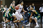 SIOUX FALLS, SD: MARCH 20:  David Chavlovich #1 of West Texas A&M drives toward Le Moyne defenders Russell Sangster #1 and Isaiah Eisendorf #5  during their game at the 2018 Division II Men's Elite 8 Basketball Championship at the Sanford Pentagon in Sioux Falls, S.D. (Photo by Dick Carlson/Inertia)
