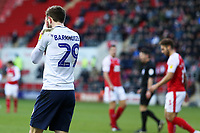 Preston North End's Tom Barkhuizen rues missing a golden opportunity in the first half<br /> <br /> Photographer David Shipman/CameraSport<br /> <br /> The EFL Sky Bet Championship - Rotherham United v Preston North End - Tuesday 1st January 2019 - New York Stadium - Rotherham<br /> <br /> World Copyright © 2019 CameraSport. All rights reserved. 43 Linden Ave. Countesthorpe. Leicester. England. LE8 5PG - Tel: +44 (0) 116 277 4147 - admin@camerasport.com - www.camerasport.com