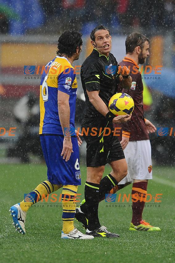 L'arbitro Andrea De MArco discute con Alessandro Lucarelli Parma.<br /> Roma 2-02-2014 Stadio Olimpico. Football Calcio 2013/2014 Serie A. AS Roma - Parma. Foto Antonietta Baldassarre / Insidefoto