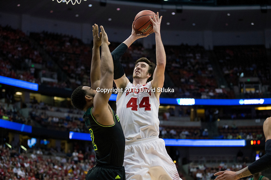 Wisconsin Badgers center Frank Kaminsky (44) shoots the ball  a regional semifinal NCAA college basketball tournament game against the Baylor Bears Thursday, March 27, 2014 in Anaheim, California. The Badgers won 69-52. (Photo by David Stluka)