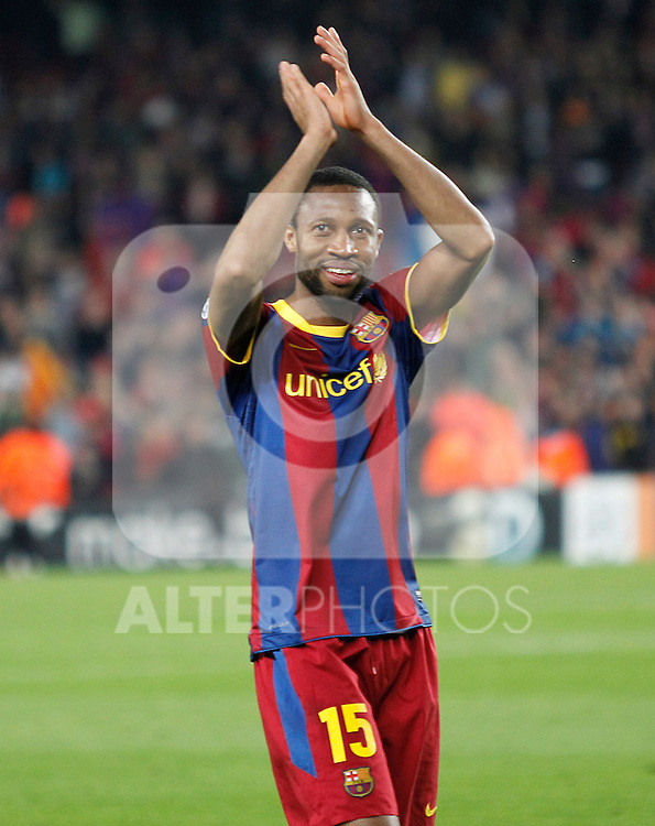 FC Barcelona's Seydou Keita celebrates the victory in the UEFA Champions League Semifinal match.May 3,2011.(ALTERPHOTOS/Acero)