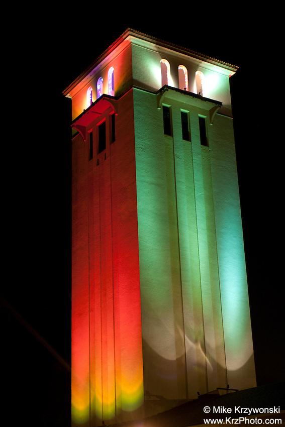 St. Peter & Paul Catholic Church Bell Tower at Night w/ Christmas Lights, Waimea Bay, North Shore, Oahu, Hawaii