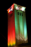 St. Peter & Paul Catholic Church Bell Tower at Night w/ Christmas Lights, Waimea Bay, North Shore, Oahu, Hawaii