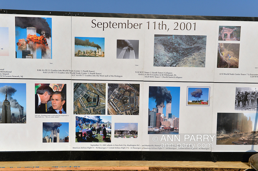 "East Meadow, New York, U.S. 11th September 2013. The Global War on Terror ""Wall of Remembrance"" a traveling memorial on display in New York for the first time, is at Eisenhower Park on the 12th Anniversary of the terrorist attacks of 9/11. The unique 94 feet long by 6 feet high wall has, on one side, almost 11,000 names of those lost on September 11, 2001, along with heroes and veterans who lost their lives defending freedom of Americans over past 30 years. On the wall's other side is a timeline, with photos, covering 1983 to present day."