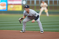 Scranton/Wilkes-Barre RailRiders first baseman Ryan McBroom (9) on defense against the Charlotte Knights at BB&T BallPark on April 14, 2018 in Charlotte, North Carolina.  The RailRiders defeated the Knights 10-5.  (Brian Westerholt/Four Seam Images)