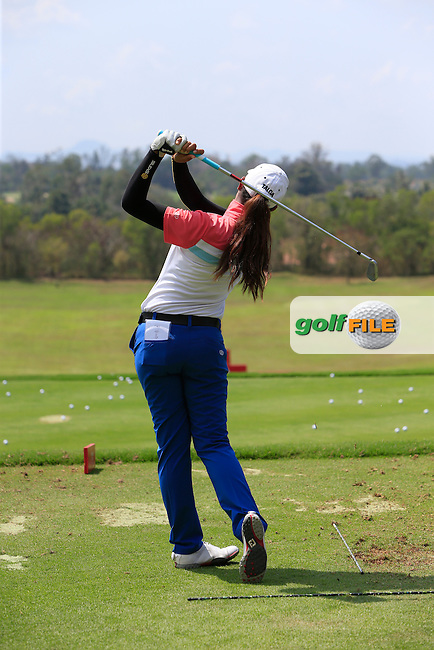 Paphangkorn Tavatanakit (THA) on the driving range during the Tuesday Practice Day of the Honda LPGA at the Siam Country Club Old Course in Pattaya on Tuesday 24th February 2015.<br /> Picture:  Thos Caffrey / www.golffile.ie