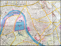BNPS.co.uk (01202 558833)<br /> Pic: Bosleys/BNPS<br /> <br /> West Middlesex waterworks (110 on map) which served the water supply for South West London with Fulham Palace (68) to the right.<br /> <br /> An extremely rare map of German bombing targets in London in the Second World War has been unearthed after more than 75 years.<br /> <br /> It belonged to a Luftwaffe navigator and highlights important buildings and targets in central and south London, including Battersea Power Station and Chelsea Barracks. <br /> <br /> Other notable targets were Duke of York's headquarters and Fulham Palace, the home of the Bishop of London.<br /> <br /> The map, which focuses on Kensington, Wimbledon and Fulham, is dated from November 30, 1941, 14 months after the Germans began their Blitz bombing campaign on British cities. <br /> <br /> It was found in the loft of a late Second World War air gunner and is believed to have come from the debris of a shot-down Luftwaffe.