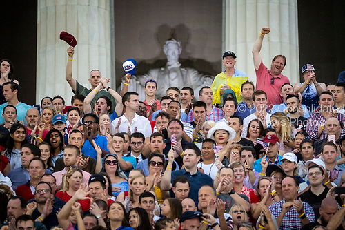 """Attendees cheer before U.S. President Donald Trump speaks during the Fourth of July Celebration 'Salute to America' event in Washington, D.C., U.S., on Thursday, July 4, 2019. The White House said Trump's message won't be political -- Trump is calling the speech a """"Salute to America"""" -- but it comes as the 2020 campaign is heating up. <br /> Credit: Al Drago / Pool via CNP"""