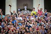 "Attendees cheer before U.S. President Donald Trump speaks during the Fourth of July Celebration 'Salute to America' event in Washington, D.C., U.S., on Thursday, July 4, 2019. The White House said Trump's message won't be political -- Trump is calling the speech a ""Salute to America"" -- but it comes as the 2020 campaign is heating up. <br /> Credit: Al Drago / Pool via CNP"