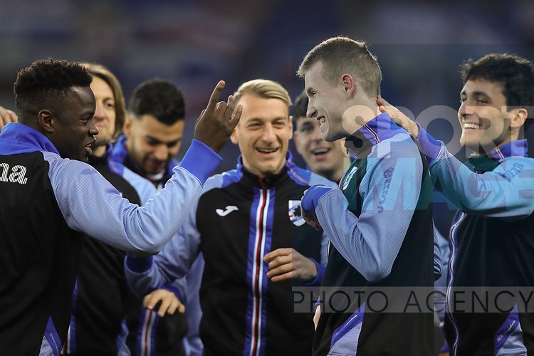 Team mates joke with Jakub Jankto of Sampdoria after he made the error in a warm up game during the Serie A match at Stadio Grande Torino, Turin. Picture date: 8th February 2020. Picture credit should read: Jonathan Moscrop/Sportimage