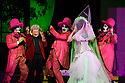 """EMBARGOED UNTIL 23:00 FRIDAY 18 OCTOBER 2019: London, UK. 16.10.2019.  English National Opera presents """"The Mask of Orpheus"""", by Sir Harrison Birthwhistle, libretto by Peter Zinovieff, at the London Coliseum, in its first London restaging in the 30 years since its premiere, coinciding with the celebration of Sir Harrison's 85th birthday. Directed by Daniel Kramer, with lighting design by Peter Mumford, set design by Lizzie Clachan and costume design by Daniel Lismore. Picture shows: Peter Hoare (Orpheus the Man) and Marta Fontanals-Simmons (Eurydice the Woman), with David Ireland, William Morgan, Simon Wilding (Judges of the Dead). Photograph © Jane Hobson."""