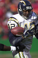 San Diego Chargers safety Rogers Beckett picked off this Trent Green pass in the loss to the Kansas City Chiefs at Arrowhead Stadium in Kansas City, Missouri on December 23, 2001.  Kansas City won 20-17.