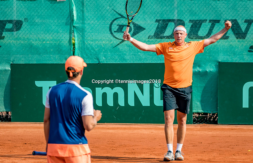 The Hague, Netherlands, 09 June, 2018, Tennis, Play-Offs Competition, Men's doubles: Arko Zoutendijk (back) and Boy Westerhof (NED) celebrate, they are in the final<br /> Photo: Henk Koster/tennisimages.com