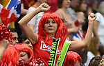 Fans celebrate. Rubber 1. Great Britain v Kazakhstan. World group II play off in the BNP Paribas Fed Cup. Copper Box arena. Queen Elizabeth Olympic Park. Stratford. London. UK. 20/04/2019. ~ MANDATORY Credit Garry Bowden/Sportinpictures - NO UNAUTHORISED USE - 07837 394578