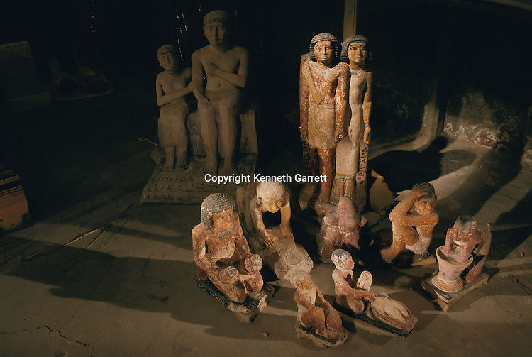 Collection of statues from excavations of Abu Bakr, Old Kingdom, depict ancient daily life of servants, huband and wife, bread baking, etc.
