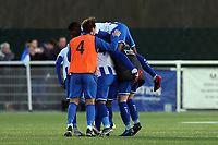 Aveley players celebrate the victory after Aveley vs Chelmsford City, Buildbase FA Trophy Football at Parkside on 8th February 2020