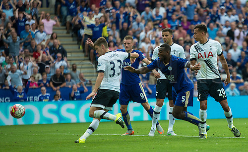 22.08.2015. Leicester, England. Barclays Premier League. Leicester City versus Tottenham Hotspur. Ben Davies of Tottenham Hotspur makes a near goal line clearance to save a goal scoring opportunity after Lloris had stopped a point blank header late in the game.