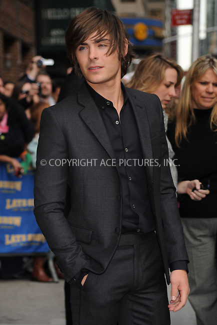 WWW.ACEPIXS.COM . . . . .  ....April 13 2009, New York City....Actor Zac Efron made an appearance at the 'Late Show with David Letterman' on April 13 2009 in New York City....Please byline: KRISTIN CALLAHAN - ACEPIXS.COM.... *** ***..Ace Pictures, Inc:  ..tel: (212) 243 8787..e-mail: info@acepixs.com..web: http://www.acepixs.com