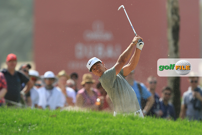 Thorbjorn Olesen (DEN) on the 1st fairway during Round 4 of the Omega Dubai Desert Classic, Emirates Golf Club, Dubai,  United Arab Emirates. 27/01/2019<br /> Picture: Golffile | Thos Caffrey<br /> <br /> <br /> All photo usage must carry mandatory copyright credit (&copy; Golffile | Thos Caffrey)