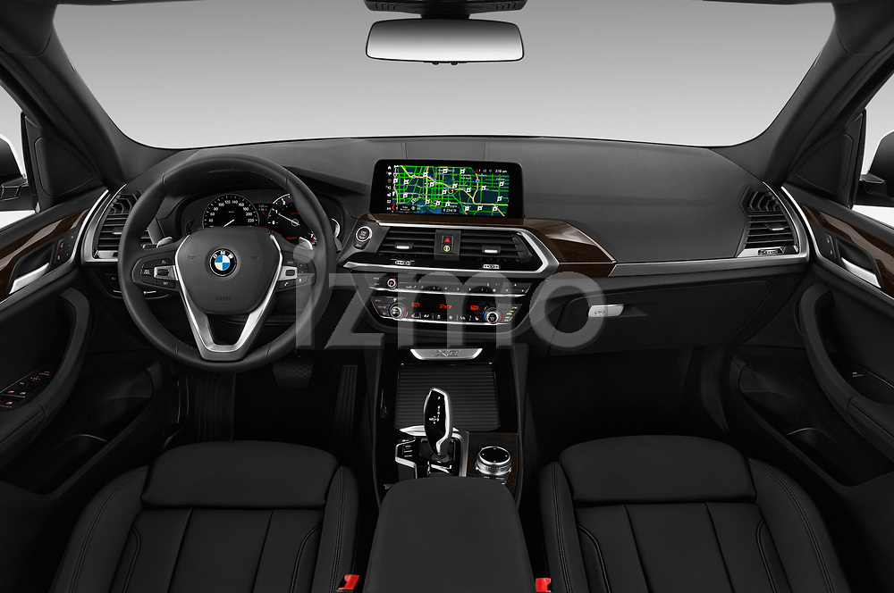 Stock photo of straight dashboard view of a 2018 BMW x3 x Line 5 Door SUV