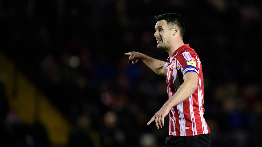 Lincoln City's Jason Shackell<br /> <br /> Photographer Chris Vaughan/CameraSport<br /> <br /> The EFL Sky Bet League Two - Lincoln City v Yeovil Town - Friday 8th March 2019 - Sincil Bank - Lincoln<br /> <br /> World Copyright © 2019 CameraSport. All rights reserved. 43 Linden Ave. Countesthorpe. Leicester. England. LE8 5PG - Tel: +44 (0) 116 277 4147 - admin@camerasport.com - www.camerasport.com