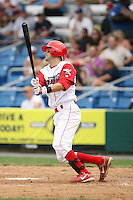 July 4th 2008:  Infielder Daniel Hargrave (13) of the Williamsport Crosscutters, Class-A affiliate of the Philadelphia Phillies, during a game at Bowman Field in Williamsport, PA.  Photo by:  Mike Janes/Four Seam Images