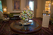 "The 2017 White House Christmas decorations, with the theme ""Time-Honored Traditions,"" which were personally selected by first lady Melania Trump, are previewed for the press in Washington, DC on Monday, November 27, 2017. Pictured is a green and gold centerpiece in the Vermeil Room<br /> Credit: Ron Sachs / CNP"