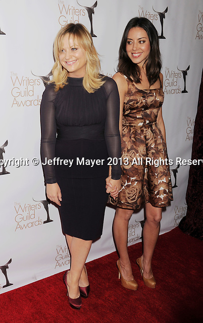 LOS ANGELES, CA - FEBRUARY 17: Amy Poehler and Aubrey Plaza arrive at the 2013 Writers Guild Awards at JW Marriott Los Angeles at L.A. LIVE on February 17, 2013 in Los Angeles, California.