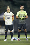 Brad Dunwell (12) and Andreu Cases Mundet (1) of the Wake Forest Demon Deacons prior to the start of the match against the North Carolina State Wolfpack at W. Dennie Spry Soccer Stadium on September 7, 2018 in Winston-Salem, North Carolina.  The Demon Deacons defeated the Wolfpack 3-0 in double-overtime.  (Brian Westerholt/Sports On Film)