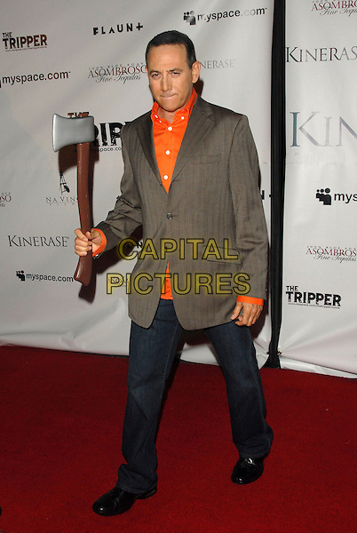 PAUL REUBEN .Attends The Tripper Premiere held at The Hollywood Forever Cemetary in Hollywood, California, USA..April 11th, 2007.full length grey gray suit jacket axe jeans denim.orange shirt.CAP/DVS.©Debbie VanStory/Capital Pictures
