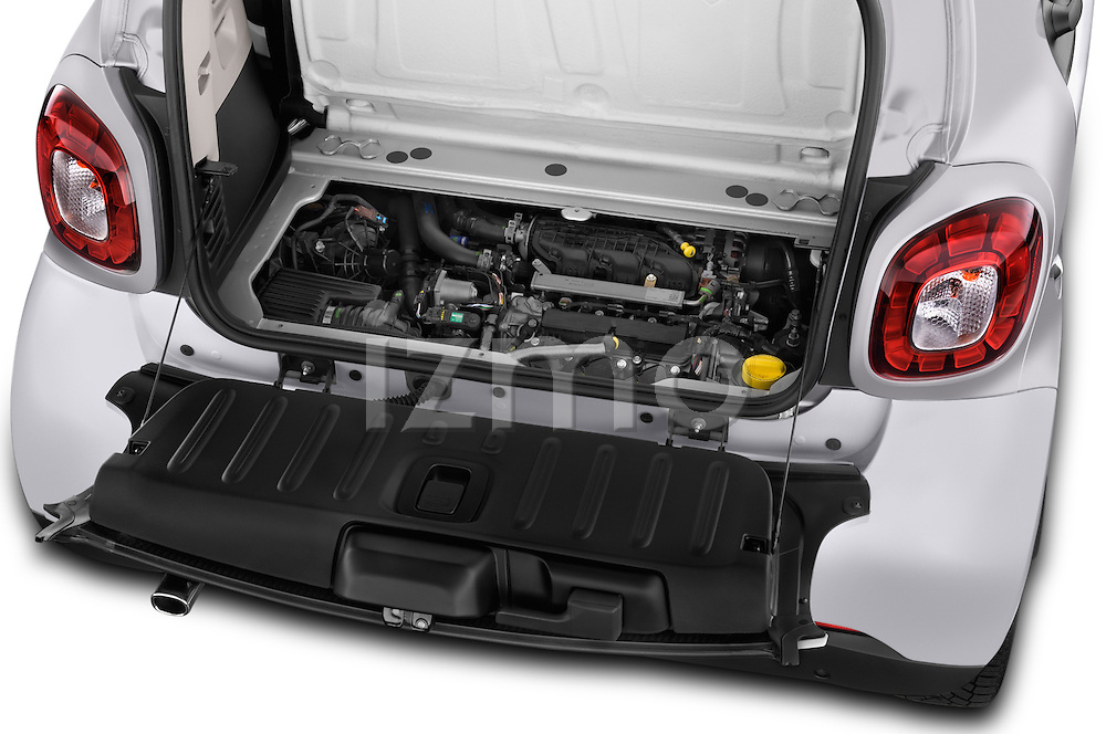 Car Stock 2015 Smart FORTWO PRIME 3 Door Micro Car Engine high angle detail view