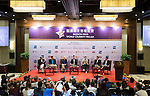 (L-R) George Chen, Chairman and CEO of China Distribution and Logistics Co. Y C Koh, President Asia of American Express, Michael Douglas, Dr. Ken Chu, Jeremy Renner, Lizzy Zhu, Vice President of Lexus China and Tenniel Chu attend a press conference during the World Celebrity Pro-Am 2016 Mission Hills China Golf Tournament on 21 October 2016, in Haikou, China. Photo by Marcio Machado / Power Sport Images