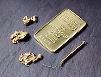 GOLD: 10g INGOT<br /> Pure Elemental Gold With Nuggets &amp; Wire<br /> Credit Suisse. 999.9 assay on weight, numbered.