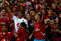 MEDELLÍN-COLOMBIA, 06-11-2019: Hinchas de Deportivo Independiente Medellín animan a su equipo durante partido de vuelta entre Deportivo Independiente Medellín y Deportivo Cali, por la final de la Copa Águila 2019, en el estadio Atanasio Girardot de la ciudad de Medellín. / Fans of Deportivo Independiente Medellin cheer for their team during a match of the second leg between Deportivo Independiente Medellin and Deportivo Cali, for the final of the Aguila Cup 2019 at the Atanasio Girardot stadium in Medellin city. / Photo: VizzorImage  / Nelson Ríos / Cont.