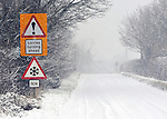 snow covered road  Stratton Audley oxfordshire   18/1/2012