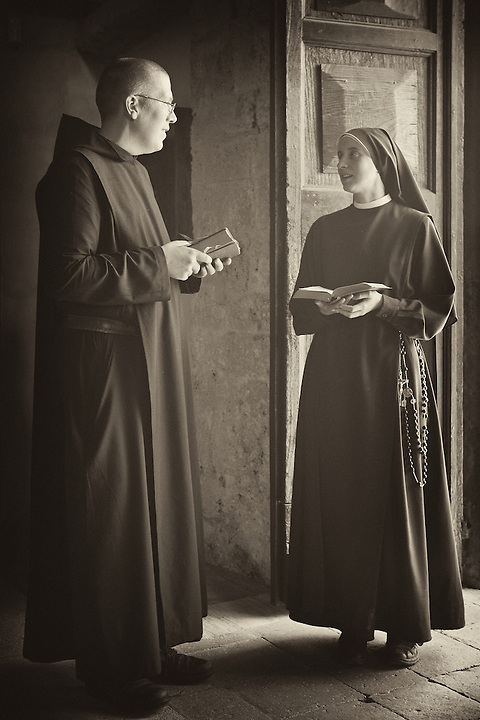 Abbot & Nun At St Eutizio Abbey, Norcia, Italy.