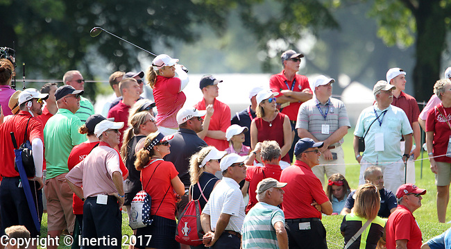 DES MOINES, IA - AUGUST 18: USA's Brittany Lincicome hits her tee shot on the 5th hole during her afternoon match at the 2017 Solheim Cup in Des Moines, IA. (Photo by Dave Eggen/Inertia)
