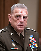 United States Army General Mark A. Milley, Chairman of the Joint Chiefs of Staff, participates in a briefing with US President Donald J. Trump and senior military leaders in the Cabinet Room of the White House in Washington, DC on Monday, October 7, 2019.<br /> Credit: Ron Sachs / Pool via CNP