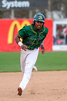 Beloit Snappers outfielder JaVon Shelby (5) races to third base during a Midwest League game against the Peoria Chiefs on April 15, 2017 at Pohlman Field in Beloit, Wisconsin.  Beloit defeated Peoria 12-0. (Brad Krause/Four Seam Images)