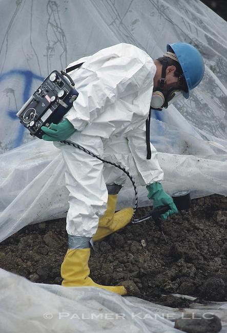 EPA Superfund site. Measuring soil contamination