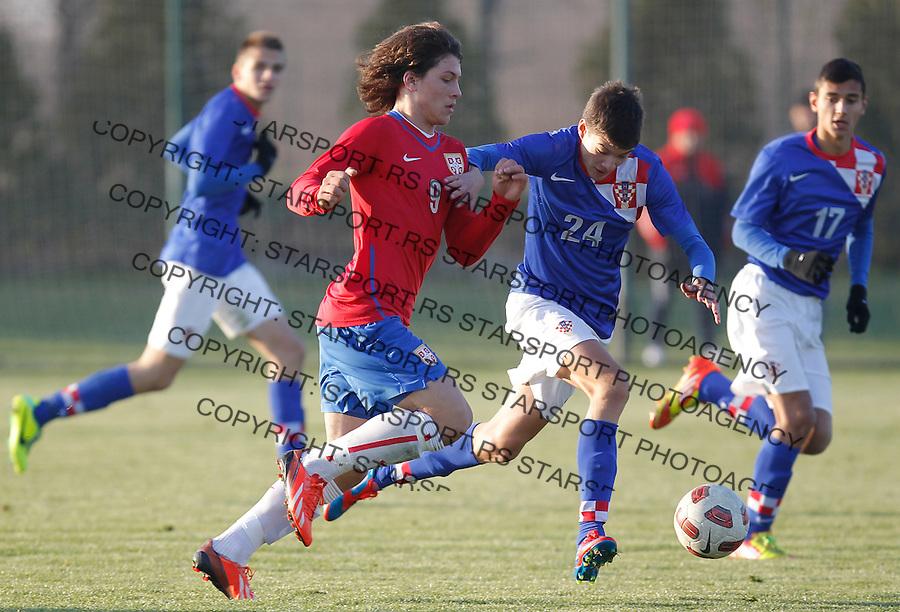 Fudbal  Reprezentacija Srbije<br /> Prijateljski mec Friendly match<br /> Srbija U17 v Croatia U17 <br /> Luka Jovic (L) and Ante Vrljicak<br /> Beograd, 11.12.2013.<br /> foto: Srdjan Stevanovic/Starsportphoto &copy;